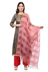 A R Silk Women's Cotton Window Check Rose Pink Regular Dupatta
