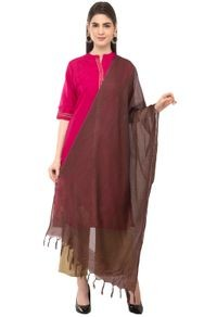 A R Silk Women's Cotton Self Check Coffee Regular Dupatta