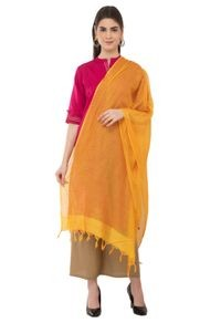 A R Silk Women's Cotton Self Check Yellow Regular Dupatta