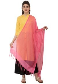 A R Silk Women's Cotton Self Check Gajari Regular Dupatta