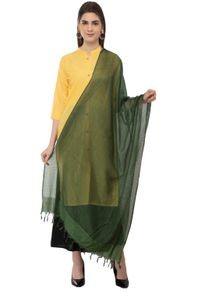 A R Silk Women's Cotton Self Check Bottle Green Regular Dupatta