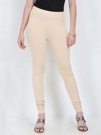 Marcia beige Solid cotton lycra churidar Leggings