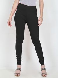 Marcia black Solid cotton lycra churidar Leggings