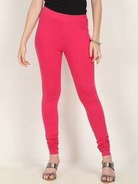 Marcia pink Solid cotton lycra churidar Leggings