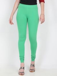 Marcia green Solid cotton lycra churidar Leggings