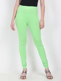 Marcia light green Solid cotton lycra churidar Leggings