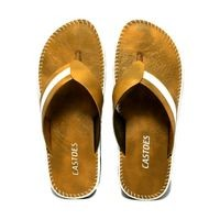 Castoes Tan Synthetic Leather Casual Slippers For Men