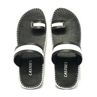 Castoes Black Synthetic Leather Casual Slippers For Men