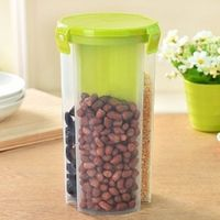 MOUNTHILLS 3 section OR 3 IN 1 1500 ml Plastic Air Tight, Grocery Container, Fridge Container,Tea Coffee & Sugar Container, Spice Container (Green, Pack Of 1)