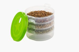 MOUNTHILLS Plastic Sprout Maker with 4 Container Organic Home Making Fresh Sprouts Beans for Living Healthy Life Sprout Maker 4 Layer Bowl - 1000 ml (Green, Pack Of 1)