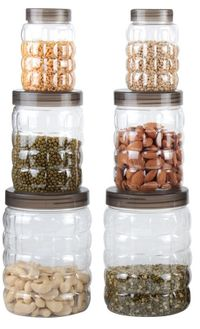 MOUNTHILLS TikTik, Checkers OR Stone Container set - 300 ml, 650 ml, 1200 ml Plastic Grocery Container, Utility Box, Tea Coffee & Sugar Container, Spice Container (Brown, Pack of 6)