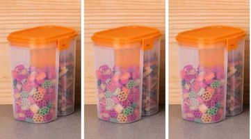 MOUNTHILLS Plastic 2 Section Storage Jar 1500ml Plastic Cereal Dispenser, Air Tight, Grocery Container, Fridge Container,Tea Coffee & Sugar Container, Spice Container (Orange, Pack Of 3)