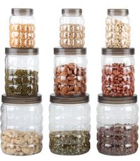 MOUNTHILLS TikTik, Checkers OR Stone Container set - 300 ml, 650 ml, 1200 ml Plastic Grocery Container, Utility Box, Tea Coffee & Sugar Container, Spice Container (Brown, Pack of 9)