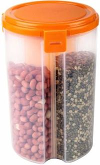 MOUNTHILLS 3 section OR 3 IN 1 1500 ml Plastic Air Tight, Grocery Container, Fridge Container,Tea Coffee & Sugar Container, Spice Container (Orange, Pack Of 1)