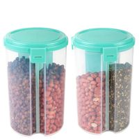 MOUNTHILLS 3 section OR 3 IN 1 1500 ml Plastic Air Tight, Grocery Container, Fridge Container,Tea Coffee & Sugar Container, Spice Container (Blue, Pack Of 2)