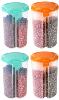 MOUNTHILLS 3 section OR 3 IN 1 1500 ml Plastic Air Tight, Grocery Container, Fridge Container,Tea Coffee & Sugar Container, Spice Container (Multicolor, Pack Of 4)