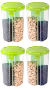 MOUNTHILLS 3 section OR 3 IN 1 1500 ml Plastic Air Tight, Grocery Container, Fridge Container,Tea Coffee & Sugar Container, Spice Container (Green, Pack Of 4)