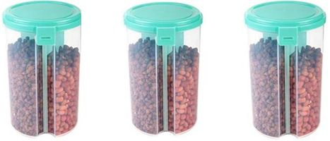 MOUNTHILLS 3 section OR 3 IN 1 1500 ml Plastic Air Tight, Grocery Container, Fridge Container,Tea Coffee & Sugar Container, Spice Container (Blue, Pack Of 3)