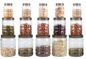MOUNTHILLS TikTik, Checkers OR Stone Container set - 300 ml, 650 ml, 1200 ml Plastic Grocery Container, Utility Box, Tea Coffee & Sugar Container, Spice Container (Brown, Pack of 15)