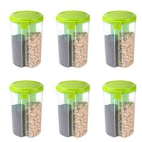 MOUNTHILLS 3 section OR 3 IN 1 1500 ml Plastic Air Tight, Grocery Container, Fridge Container,Tea Coffee & Sugar Container, Spice Container (Green, Pack Of 6)