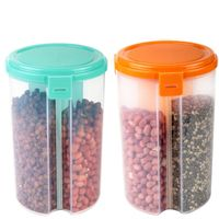 MOUNTHILLS 3 section OR 3 IN 1 1500 ml Plastic Air Tight, Grocery Container, Fridge Container,Tea Coffee & Sugar Container, Spice Container (Multicolor, Pack Of 2)