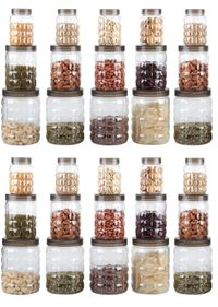 MOUNTHILLS TikTik, Checkers OR Stone Container set - 300 ml, 650 ml, 1200 ml Plastic Grocery Container, Utility Box, Tea Coffee & Sugar Container, Spice Container (Brown, Pack of 30)