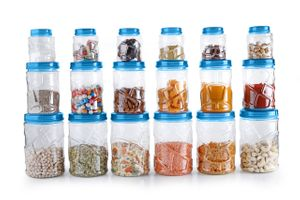 MOUNTHILLS TikTik, Checkers OR Stone Container set - 300 ml, 650 ml, 1200 ml Plastic Grocery Container, Utility Box, Tea Coffee & Sugar Container, Spice Container (Blue, Pack of 18)