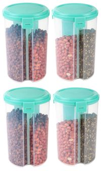 MOUNTHILLS 3 section OR 3 IN 1 1500 ml Plastic Air Tight, Grocery Container, Fridge Container,Tea Coffee & Sugar Container, Spice Container (Blue, Pack Of 4)