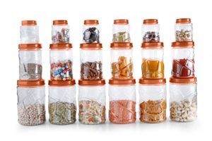 MOUNTHILLS TikTik, Checkers OR Stone Container set - 300 ml, 650 ml, 1200 ml Plastic Grocery Container, Utility Box, Tea Coffee & Sugar Container, Spice Container (Orange, Pack of 18)