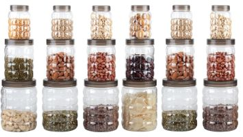 MOUNTHILLS TikTik, Checkers OR Stone Container set - 300 ml, 650 ml, 1200 ml Plastic Grocery Container, Utility Box, Tea Coffee & Sugar Container, Spice Container (Brown, Pack of 18)
