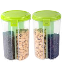 MOUNTHILLS 3 section OR 3 IN 1 1500 ml Plastic Air Tight, Grocery Container, Fridge Container,Tea Coffee & Sugar Container, Spice Container (Green, Pack Of 2)