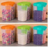 MOUNTHILLS Plastic 2 Section Storage Jar 1500ml Plastic Cereal Dispenser, Air Tight, Grocery Container, Fridge Container,Tea Coffee & Sugar Container, Spice Container (Multicolor, Pack Of 6)