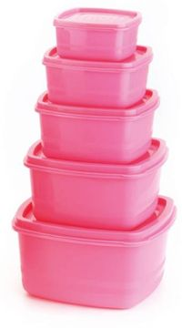 MOUNTHILLS Air Tight Container - 300 ml,500 ml, 1350 ml, 250 ml, 750 ml Plastic Fridge Container, 5 Pcs combo packs (Pack of 5,Pink)