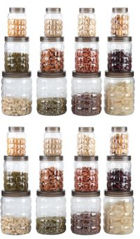MOUNTHILLS TikTik, Checkers OR Stone Container set - 300 ml, 650 ml, 1200 ml Plastic Grocery Container, Utility Box, Tea Coffee & Sugar Container, Spice Container (Brown, Pack of 24)