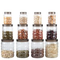 MOUNTHILLS TikTik, Checkers OR Stone Container set - 300 ml, 650 ml, 1200 ml Plastic Grocery Container, Utility Box, Tea Coffee & Sugar Container, Spice Container (Brown, Pack of 12)