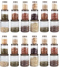 MOUNTHILLS TikTik, Checkers OR Stone Container set - 300 ml, 650 ml, 1200 ml Plastic Grocery Container, Utility Box, Tea Coffee & Sugar Container, Spice Container (Brown, Pack of 36)