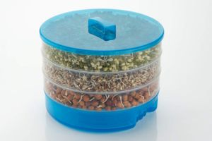 MOUNTHILLS Plastic Sprout Maker with 4 Container Organic Home Making Fresh Sprouts Beans for Living Healthy Life Sprout Maker 4 Layer Bowl - 1000 ml (Blue, Pack Of 1)