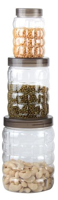 MOUNTHILLS TikTik, Checkers OR Stone Container set - 300 ml, 650 ml, 1200 ml Plastic Grocery Container, Utility Box, Tea Coffee & Sugar Container, Spice Container (Brown, Pack of 3)