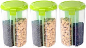 MOUNTHILLS 3 section OR 3 IN 1 1500 ml Plastic Air Tight, Grocery Container, Fridge Container,Tea Coffee & Sugar Container, Spice Container (Green, Pack Of 3)