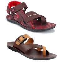 Birde Red, Brown Synthetic Sandal for Men & Boys Combo of 2