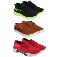 Birde Multicolor Canvas & Mesh Sport Casual Shoes for Men & Boys Combo of 3