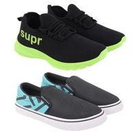 Birde Multicolor Canvas & Mesh Sport Casual Shoes for Men & Boys Combo of 2