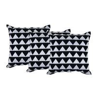 Machine Embroidered Cotton Duck Black&White Color Set of 3 Cotton Cushion Cover by REME