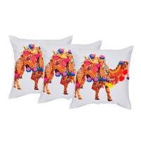 Digital Printed &Hand Embroidery Cotton Duck Multi Color Set of 3 Embellished Cushion Cover by REME