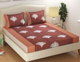 Fitted Bedsheets For King Size Bed By Akshya |Glace Cotton Elastic Fitted Bedsheet King Size With 2 Pillow Covers