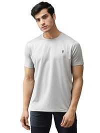 EPPE Men's Round Neck Half Sleeve Light Grey Dryfit Micropolyester Active Performance Sports Tshirt