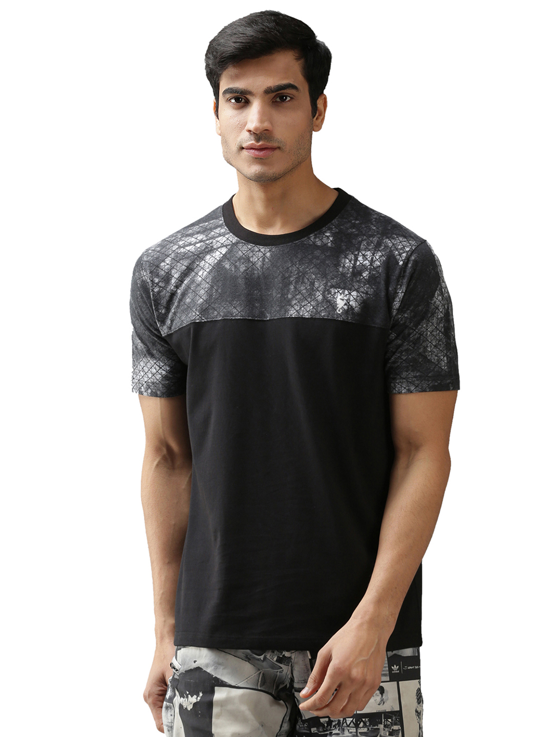 EPPE Men's Round Neck Half Sleeve Black-Dark Grey-Printed Cotton Biowash Casual Tshirt