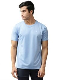 EPPE Men's Round Neck Half Sleeve Sky Blue Dryfit Micropolyester Active Performance Sports Tshirt