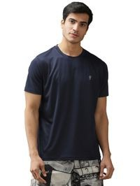 EPPE Men's Round Neck Half Sleeve Navy Blue Dryfit Micropolyester Active Performance Sports Tshirt