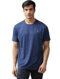 EPPE Men's Round Neck Half Sleeve Royal Blue Melange Dryfit Micropolyester Active Performance Sports Tshirt